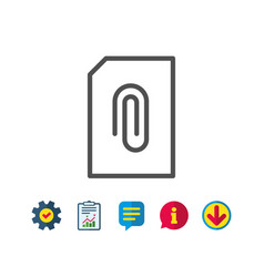 Attach document line icon file sign vector