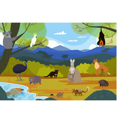 Australian animals in natural landscape wildlife vector