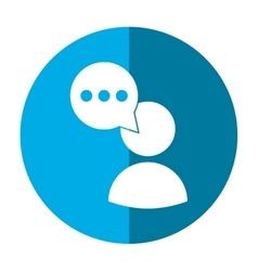 avatar speech bubble message media blue circle vector image