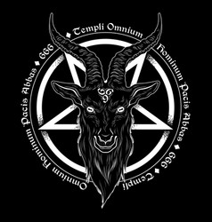 Baphomet demon goat head hand drawn vector