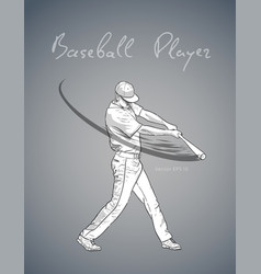 baseball player with bat hitting the ball sketch vector image