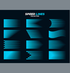 blue comic speed lines collection straight vector image
