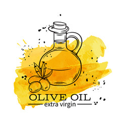 bottle of olive oil with olives vector image