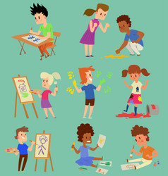 boy and girl artist creative play games vector image