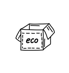 cardboard boxpaper eco-friendly boxdoodle style vector image