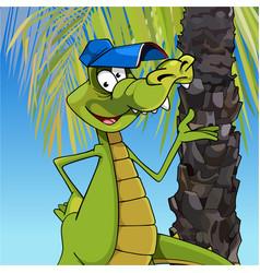 cartoon character cheerful crocodile in a cap vector image