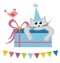Cat and bird with gift vector image