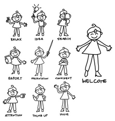 Character business women set vector
