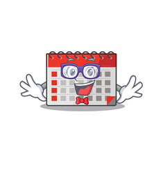 Character calendar isolated with in cartoon geek vector