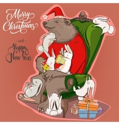 Christmas card with bear and hares vector