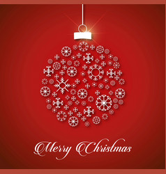 christmas card with snow flakes balls and vector image