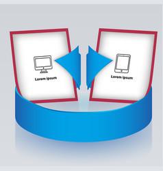 Circular arrow with presentation brochures vector