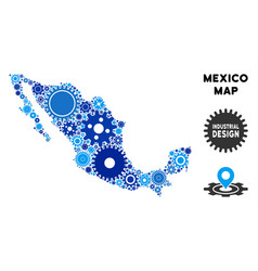 Collage mexico map of gears vector