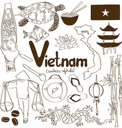 Collection of Vietnamese icons vector image