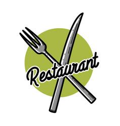 color vintage restaurant emblem vector image