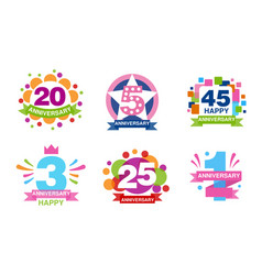 colorful anniversary labels collection 20 5 45 vector image