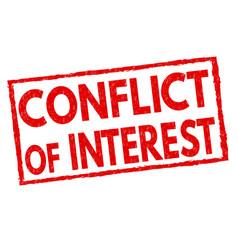 Conflict interest grunge rubber stamp vector