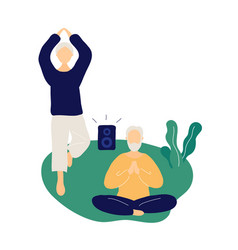 couple old people doing yoga and meditating vector image