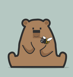 cute bear with bee vector image