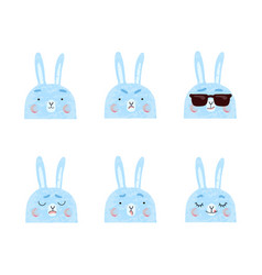 Cute bunnies with different vector
