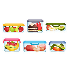 Different food in plastic or glass containers vector