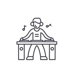 Dj line icon concept dj linear vector