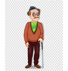 elderly full length man with glasses and walking vector image