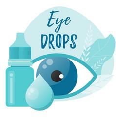 Eye drops bottle eyedropper eye health concept vector