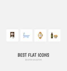 flat icon oneday set of clock beer with chips vector image