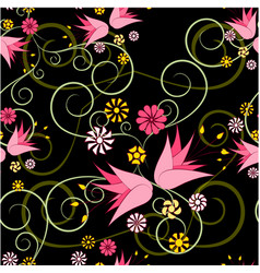 floral abstract ornament on a black background vector image