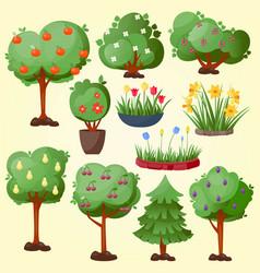 Funny cartoon green garden park tree with fruits vector