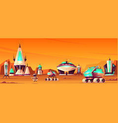 Future colony on mars cartoon concept vector