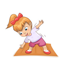 girl doing exercises on mat vector image