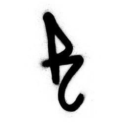 Graffiti sprayed r font in black over white vector
