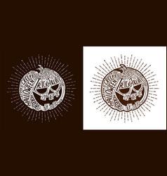 halloween lettering pumpkin vector image