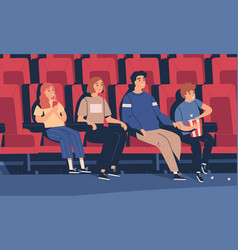 happy family sitting at movie theater flat vector image