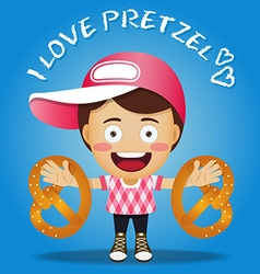 Happy man carrying big pretzel on his arms vector