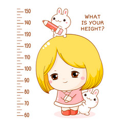 Height chart with cute shy little girl and her vector