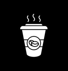 Hot coffee to go dark mode glyph icon vector