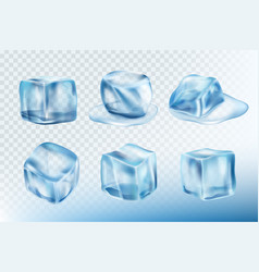 ice cubes realistic puddles smudges and splashes vector image