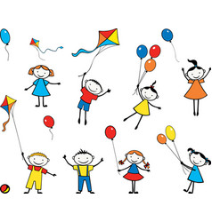 Image playful children with balloons and kites vector