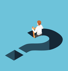 Isometric businessman climbing up from question vector