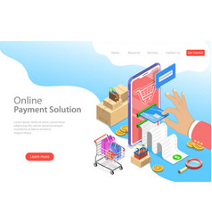 isometric flat landing page template pay vector image