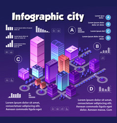 Isometric neon city infographics violet colors vector