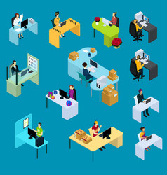 Isometric support workers collection vector