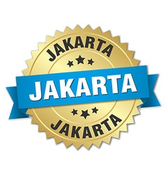 Jakarta round golden badge with blue ribbon vector