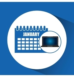 Laptop blue display calendar social media vector