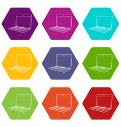laptop icons set 9 vector image