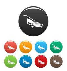 Lawn mower icons set color vector