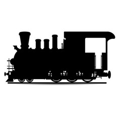 Locomotive silhouette in black one vector
